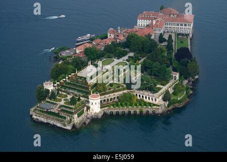 ISOLA BELLA (aerial view). Borromean Islands, Lake Maggiore, Piedmont, Italy. - Stock Photo