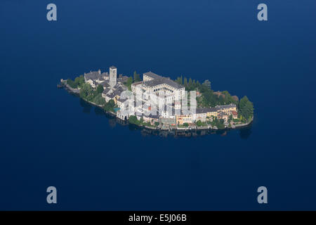 SAN GIULIO ISLAND  (aerial view). Island on Lake Orta, Piedmont, Italy. - Stock Photo