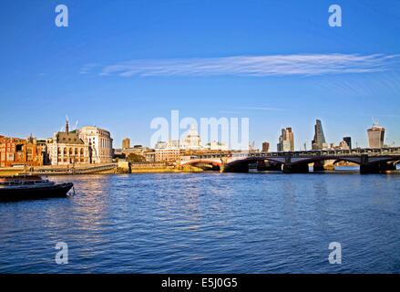 View of the River Thames showing St. Paul's Cathedra,l Blackfriars Bridge and the skyline of the City of London, - Stock Photo