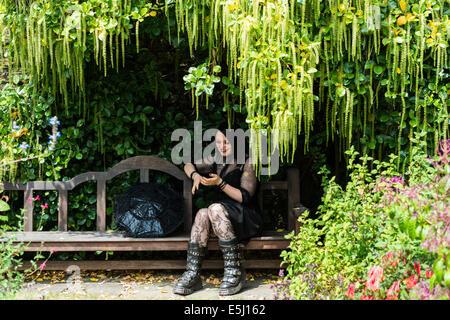 july 30th 2014 kingswear devon england a young lady dressed as a goth e5j162