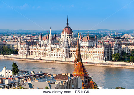 View of the river Danube and Hungarian Parliament Building, Budapest, Hungary - Stock Photo