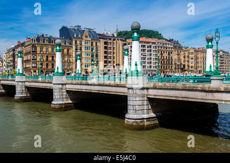 Zurriola Bridge, Donostia San Sebastian, Gipuzkoa, Basque Country, Spain - Stock Photo