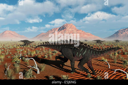 A Herd Of Miragaia Dinosaurs On The Run. - Stock Photo