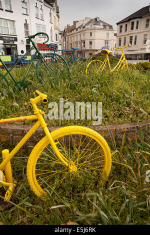 UK England, Dorset, Seaton, Marine Place old bicycles decorating roundabout - Stock Photo