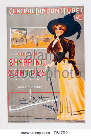Vintage travel poster advertising Central London Tube Railway. Editorial Only - Stock Photo