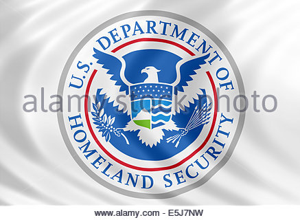 United States Department of Homeland Security logo icon with flag of silk - Stock Photo