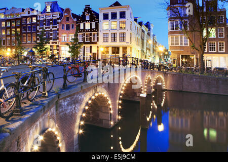 Herenstraat/Blauwburgwal at Herengracht canal, Jordaan, Amsterdam, Netherlands - Stock Photo