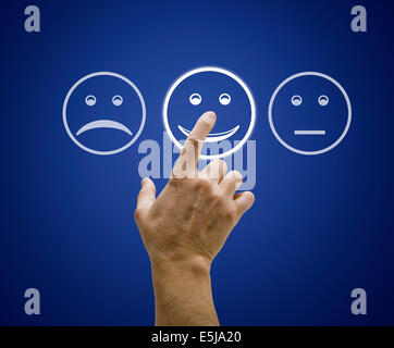 Hand touching screen with customer service evaluation form. - Stock Photo