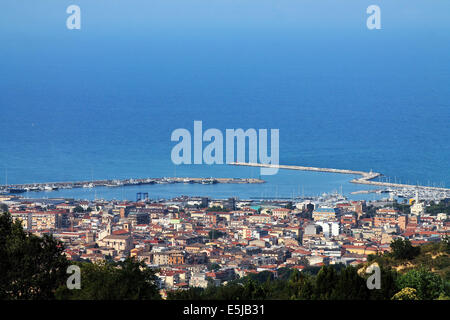 Panoramic view of the harbor and the city of San Benedetto del Tronto, Italy - Stock Photo