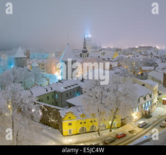 Panoramic view of old Tallinn in winter aerial view. - Stock Photo
