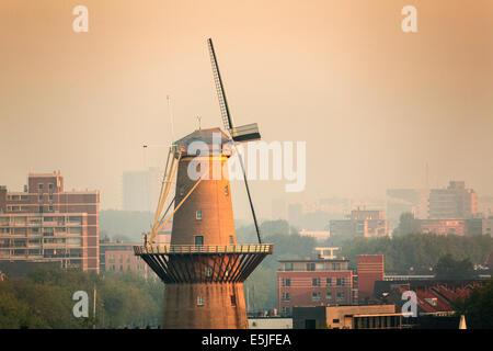 Netherlands, Rotterdam, Windmill of Schiedam. Sunrise - Stock Photo