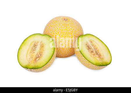 One whole and two half Galia Melons isolated on white Background - Stock Photo