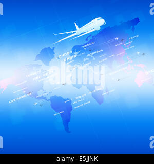 global aviation background with planes and city names on a map - Stock Photo