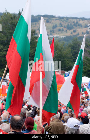 Shipka region Bulgaria Eastern Europe August 2nd  2014: Thousands of Bulgarian Socialists (BSP) traveled by buses - Stock Photo