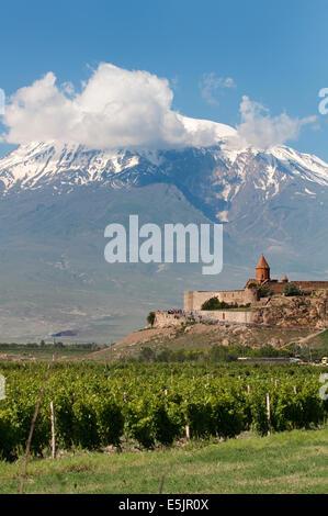 Khor Virap Monastery in front of Mount Ararat, Lusarat, Ararat Province, Armenia - Stock Photo
