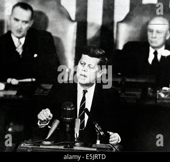 US President John F. Kennedy addressing a joint session of Congress calls on the nation to land a man on the moon by the end of the decade  May 25, 1961 in Washington, DC.
