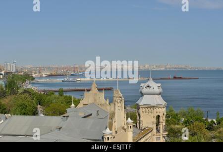 View towards the Baku Bay from the Maiden Tower, Baku, Azerbaijan - Stock Photo