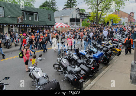 View of the crowd on the main street of Port Dover, Ontario, Canada, during the 'Friday the Thirteenth' motorcycle - Stock Photo