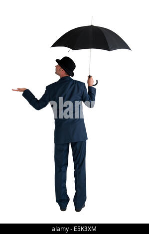 businessman with umbrella isolated on a white background - Stock Photo