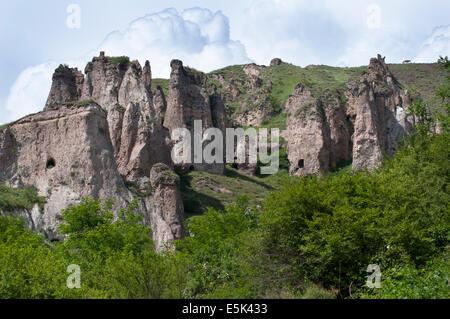 Khndzoresk cave settlement, Armenia - Stock Photo