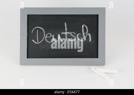Tafel abc Alphabet Kreide Schule Schultafel Schulkreide Schulkinder schreiben Grammatik Rechtschreibung Zahl Zahlen - Stock Photo