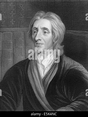 portrait of John Locke, 1632 - 1704, an English philosopher and thought leader of the Enlightenment, - Stock Photo