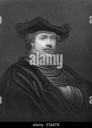 Rembrandt Harmenszoon van Rijn, 1606 - 1669, a Dutch painter of the Baroque, - Stock Photo