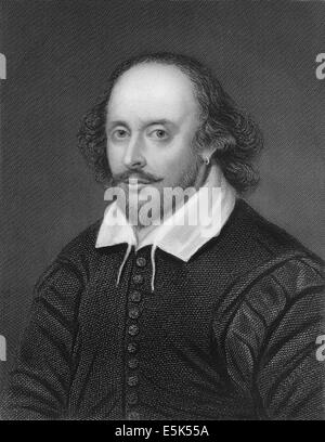 Portrait of William Shakespeare, 1564 - 1616, an English playwright, poet and actor, - Stock Photo
