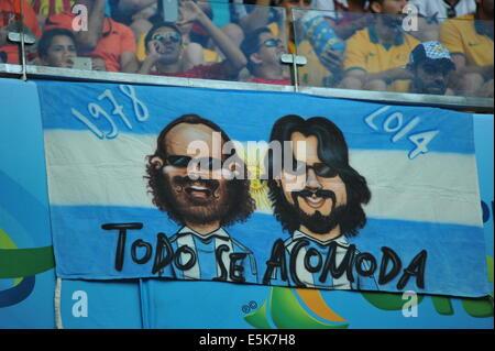Argentinischer Fanblock, WM 2014, Salvador da Bahia, Brasilien. - Stock Photo