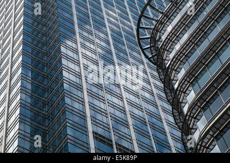 close up of office buildings in Canary Wharf - Stock Photo