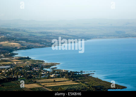 Israel, Lower Galilee, The Sea of Galilee as seen from Arbel mountain - Stock Photo