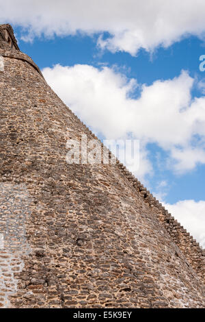 The Long Flight of Stairs. The long steep stairs at the front of the Pyramid of the Magician seem to stretch to - Stock Photo