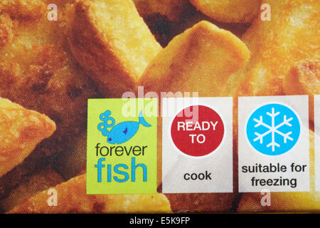 forever fish ready to cook suitable for freezing symbols on Marks & Spencer fish & chips food packaging - Stock Photo