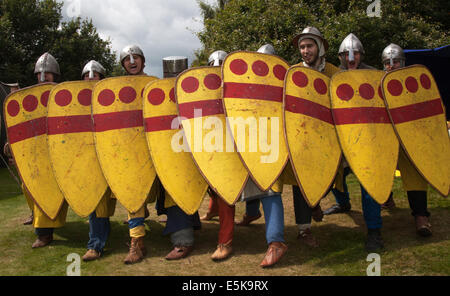 Beeston, Cheshire, UK 3rd August, 2014.  A non-ranking squad or block of yellow painted shields, a formation at - Stock Photo