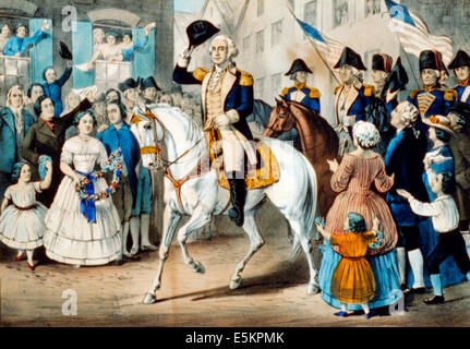 George Washington's entry into New York: on the evacuation of the city by the British, November 25th. 1783 - Stock Photo