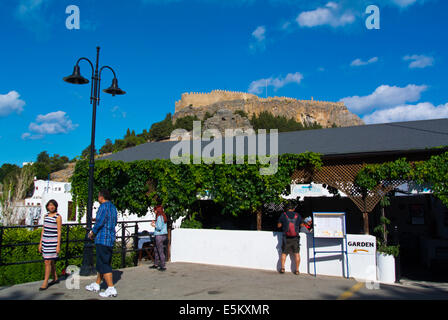 Viewing platform and restaurant, Lindos town, Rhodes island, Dodecanese islands, Greece, Europe - Stock Photo