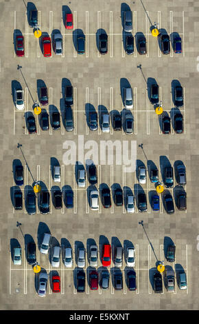 Aerial view, parked cars, North Rhine-Westphalia, Germany - Stock Photo