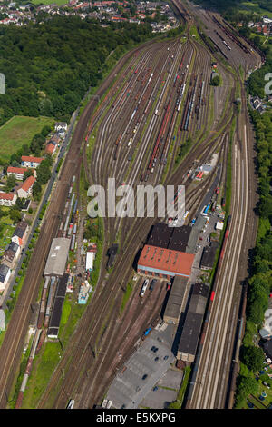 Freight station Oberhausen Osterfeld, aerial view, Oberhausen, Ruhr district, North Rhine-Westphalia, Germany - Stock Photo