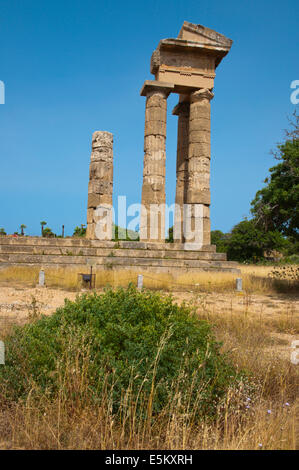 Temple of Apollo, Acropolis Monte Smith, Rhodes town, Rhodes island, Dodecanese, Greece, Europe - Stock Photo