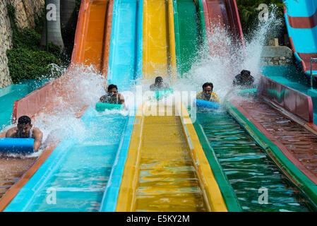 Water slide, Wonderla Amusement Park, Bangalore, Karnataka, India - Stock Photo