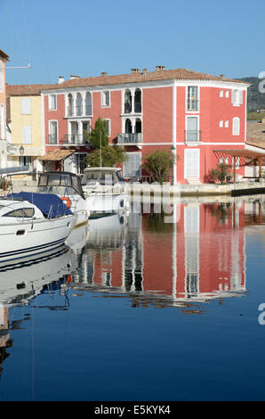 Colorful Waterfront Houses in the Resort Town of Port Grimaud Var Provence France - Stock Photo