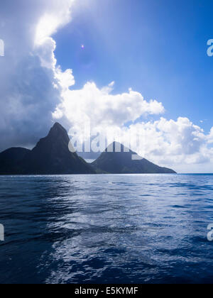 The Gros Piton and Petit Piton volcanoes, volcanic cores, Pitons Management Area, Saint Lucia, Windward Islands, - Stock Photo