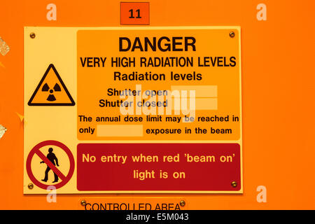 Radiation warning outside a laboratory in a scientific reseach establishment. - Stock Photo
