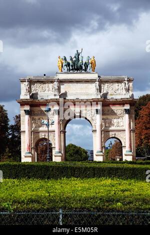 Arc de Triomphe du Carrousel at Place du Carrousel, Paris, France - Stock Photo