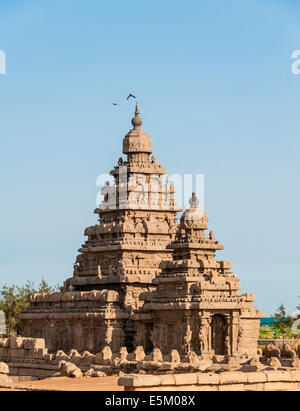 Shore Temple, Mahabalipuram, Kanchipuram, Tamil Nadu, India - Stock Photo