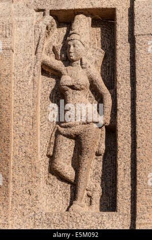 Stone carving, Indian deity, Shore Temple, Mahabalipuram, Kanchipuram, Tamil Nadu, India - Stock Photo