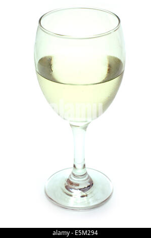 White wine in a glass isolated on a white background - Stock Photo