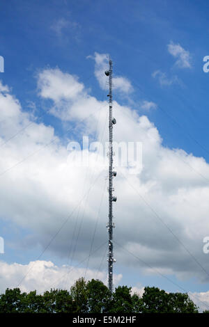 A tall radio and telecoms transmitter mast at Membury Services on the M4 motorway, UK. It is 500ft (152m) high