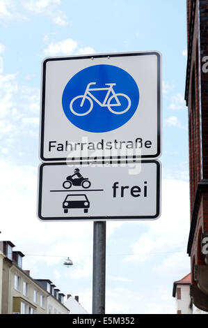 German traffic sign for a Bicycle Road - Stock Photo