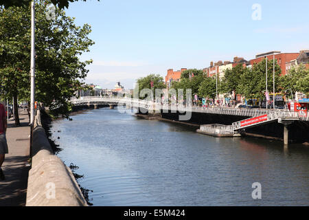 River liffey at low tide - Stock Photo